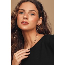 All Linked Up Gold Chain Link Drop Earrings | Lulus