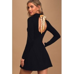 Take it Back Black Ribbed Knit Tie-Back Sweater Dress | Lulus