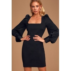 Longtime Crush Black Puff Shoulder Long Sleeve Mini Dress | Lulus