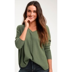 Only For You Olive Green Knit Long Sleeve Top | Lulus
