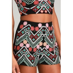 Rhythm is Gonna Get You Embroidered Black Shorts | Lulus