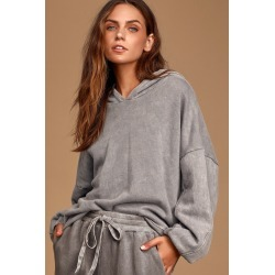 Boat House Washed Grey Pullover Hoodie | Lulus
