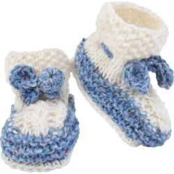 Magee 1866 Blue White Hand Knit Baby Booties