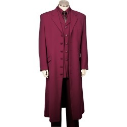 Mens 3 Piece Fashionable Long Zoot Suit Violet 45'' Long Jacket EXTRA LONG JACKET Maxi Very Long