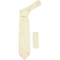 Square Pattern Beige Trendy Necktie With
