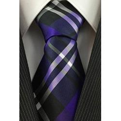 Pattern Necktie Purple Black and White