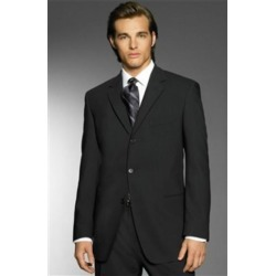 Exclusive Simple & Classy Smooth Solid Black Men's 3 Button premier quality italian fabric