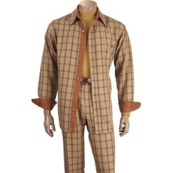 Men's Beige Button Up Checked Microfiber Two-Piece Sets Casual Leisure Suits