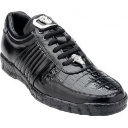 19642a6b6d0 Belvedere Astor Genuine Crocodile   Soft Calfskin Black Casual Sneakers for  men found on MODAPINS from