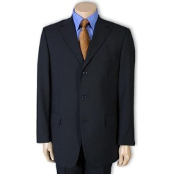 Men's Dark Navy Blue 1 Pure wool feel poly~rayon. (SUPER 120) 3 buttons, non back vent coat style coat