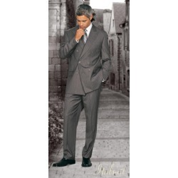 Classic Double Breasted Gray Pinstripe Mens Suit 175 (Wholesale price 95 (12pc&UPMinimum))