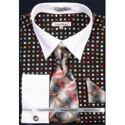 Multi Polka Dot Dress Fashion Shirt/ Tie / Hanky Set White Collar Two Toned Contrast With Free Cufflinks Black/Green