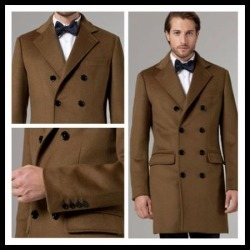 Mens wool Double Breasted Long Mens Topcoat Peacoat Overcoat Charcoal