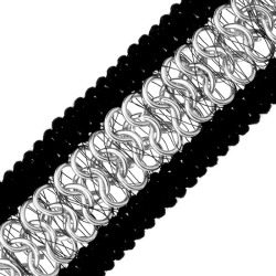 BRAID WITH 3-ROW CHAIN-BLACK/SILVER found on Bargain Bro Philippines from M&J Trimming Affiliate Program for $9.98