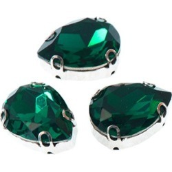 18x25mm Pear Shaped Sew-On Jewel w/ Setting-EMERALD found on Bargain Bro Philippines from M&J Trimming Affiliate Program for $6.98