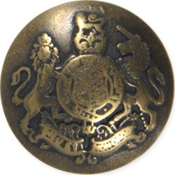 METAL CREST BUTTON-22mm-ANTIQUE BRASS found on Bargain Bro Philippines from M&J Trimming Affiliate Program for $3.98