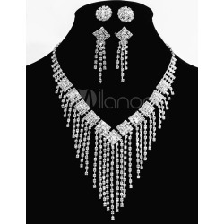 Alloy Wedding Jewelry Sets Silver Bridal Jewelry Sets With Ear Studs