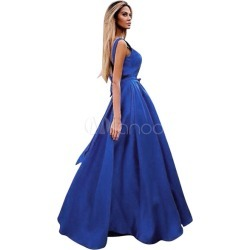 Blue Maxi Dresses Sleeveless Backless Ribbon Bow Women's Long Summer Dress
