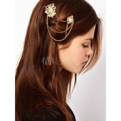 Boho Head Chains Women's Double Hair Clips Gold Hair Accessories found on Bargain Bro India from Milanoo.com Ltd for $3.99