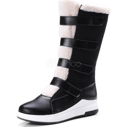 Black Winter Boots Women Mid Calf Boots Round Toe Snow Boots