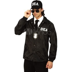 Men's Cop Costume Halloween DEA Agent Black Jacket Top And Hat 2 Pieces Adult Holiday Costume Outfits