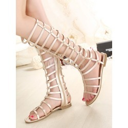 Champagne Gladiator Sandals Women's Open Toe Zip Up Flat Sandals