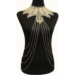 Choker Body Chain Lace Layered Gold Y Drop Body Jewelry found on MODAPINS from Milanoo.com Ltd for USD $5.99