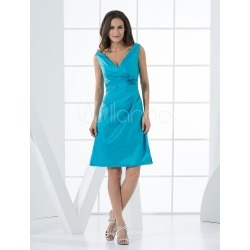 Short Bridesmaid Dress Aqua Taffeta A line V Neck Flower Ruched Prom Dress found on MODAPINS from Milanoo.com Ltd for USD $94.99