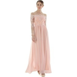Pink Maxi Dress Off The Shoulder Long Sleeve Chiffon Embroidered Backless Women's Long Dresses
