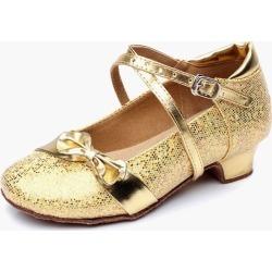 Bow Glitter Ballroom Shoes For Kids