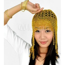 Belly Dance Headpiece Costume Gold Net Plastic Bollywood Dance Hat