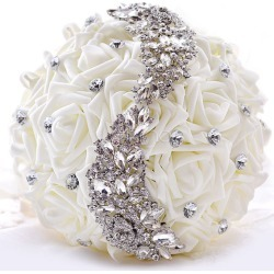 Wedding Flower Bouquet Rhinestones Beaded Silk Flowers Bridal Bouquet In White found on Bargain Bro Philippines from Milanoo.com Ltd for $29.99