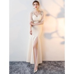 Prom Dresses Long Champagne High Split V Neck Lace Beading Bell Sleeve Illusion Formal Dress found on MODAPINS from Milanoo.com Ltd for USD $144.99