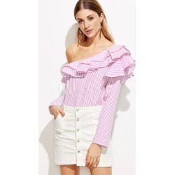 Women's Pink Blouse One Shoulder Long Sleeve Stripes Cascading Ruffles Chic Blouse