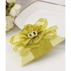 Wedding Favor Boxes Yellow Glitter Rings Ribbon Bow Small Gift Box