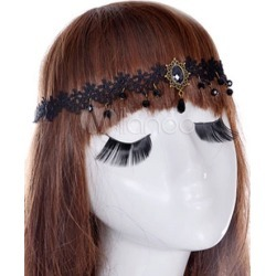 Women Hair Band Black Gothic Lace Head Band found on Bargain Bro India from Milanoo.com Ltd for $15.99