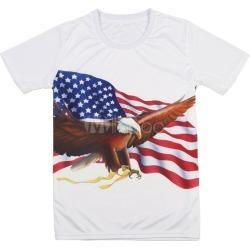 Men's Casual T Shirt Round Neck Short Sleeve USA Patriotic Animal Print Regular Fit Tee Top