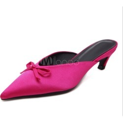 Fuchsia Mules Shoes Pointed Toe Bow Kitten Heel Backless Women's Slip On Mules