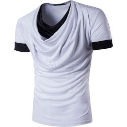 Men's White T Shirts Cowl Collar Short Sleeve 2 Colors Summer Tee Shirt