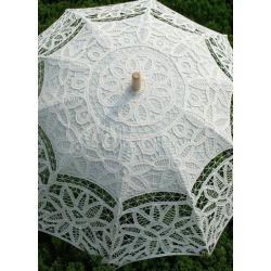 Ivory Cotton Canopy Wood Handle Wedding Umbrella