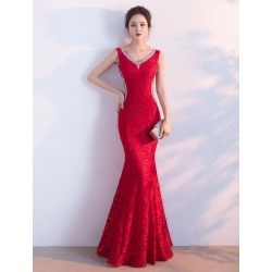 Red Evening Dress Lace Mermaid Formal Dress V Neck Beading Sleeveless Floor Length Party Dress found on MODAPINS from Milanoo.com Ltd for USD $139.99
