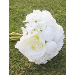 White Wedding Bouquet Silk Flowers Hand Tied Bridal Bouquet found on Bargain Bro India from Milanoo.com Ltd for $12.99