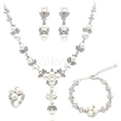 Wedding Jewelry Sets Pearls Rhinestone Bridal Jewelry Sets For Women