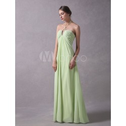 Prom Dresses Long Chiffon Neon Green Halter Backless Beaded Pleated Floor Length Formal Dress found on MODAPINS from Milanoo.com Ltd for USD $129.99