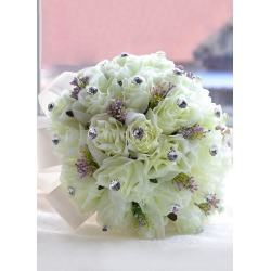 Wedding Flowers Bouquet Light Green Rhinestones Beaded Ribbons Silk Flowers Bridal Bouquet found on Bargain Bro Philippines from Milanoo.com Ltd for $19.99