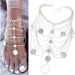 Silver Fringe Coin Beach Anklets
