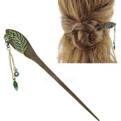 Green Hair Accessories Wood Rhinestones Hairpin For Women found on Bargain Bro Philippines from Milanoo.com Ltd for $3.99