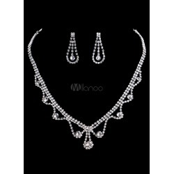 Bridal Jewelry Sets Vintage Silver Wedding Rhinestone Wavy Necklace And Drop Earrings