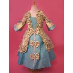 Blue Lace Layered Bow Jacquard Kids Costumes Halloween