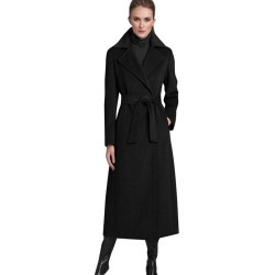 Women's Winter Coats Black Woolen Belted Longline Wrap Coat